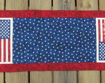 Patriotic Flag and Stars Table Runner