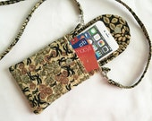 Iphone 6 Plus Smart Phone Gadget Case Detachable Neck Strap Quilted Fabric African floral Print Brown Black