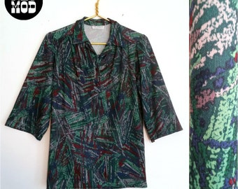 Green and Maroon Brutalist Pattern Tunic Shirt from the 1970s!