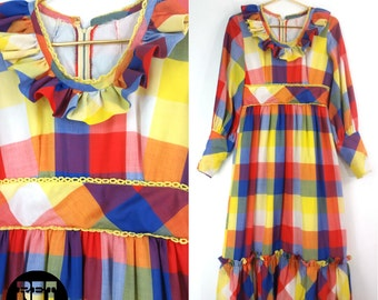UNIQUE Vintage 60s 70s Ruffle Collar Maxi Dress with Red, Yellow, White and Blue Plaid Pattern!