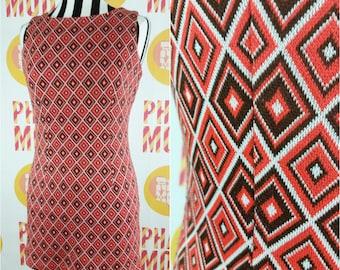 Cute 90s Club Kid Orange & Brown Diamond Geometric Mini Dress!