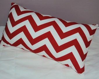 FREE SHIPPING 15x8 Outdoor Red Chevron Zig Zag Lumbar Pillow