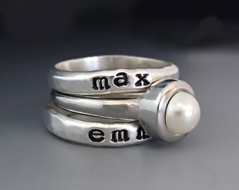 SET Sterling Silver Custom Hand Stamped Personalized Stacking Rings / Stainless Steel White Pearl Spacer Ring /Children's  Name Rings