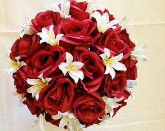 Apple, Red, Roses, Ivory, Freesias, Pearl, Accent, Wedding, Bride, Bouquet, Silk, Flowers