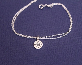 Silver Compass Necklace or Bracelet , Sterling Silver Necklaces, Graduation gift, Best friend gift, Compas char