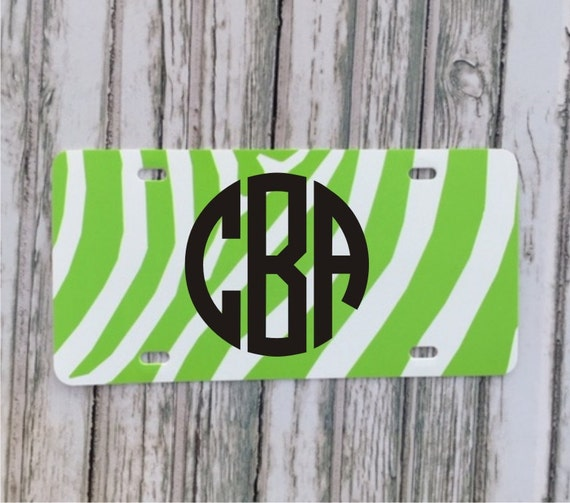 Monogram License Plate - Lime Green zebra stripe