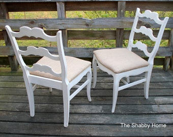 Shabby French Country pair of Chairs ~ distressed ~ Chalk Paint ~ burlap upholstery ~ rope trim