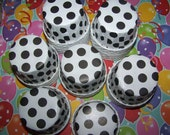 Treat/Portion Cups, White Large Black Polka Dots, Party Cups, Cupcake Baking 12 Polka Dots Treat Cups