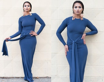 Dramatic Waist Tie Long Sleeve Maxi Dress XS S M L XL