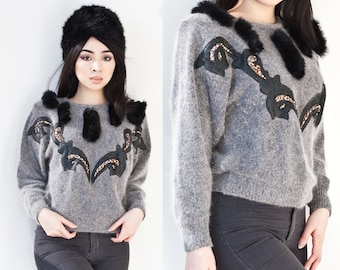 Leather Rabbit Fur Jeweled Grandma Grey Sweater Silk Wool Angora XS S 1980s