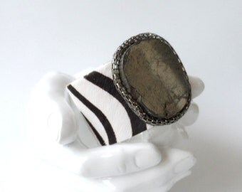 "leather cuff bracelet  -zebra hair on hide with pyrite and chain- 1.5"" wide"