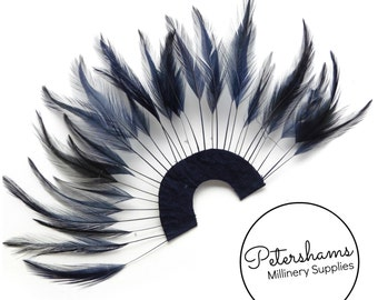 Stripped Hackle Feather Fan for Fascinators & Hat Making - Navy Blue