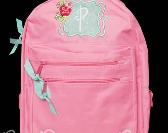 Girls Monogrammed Backpack Personalized Custom You Pick Colors Flower