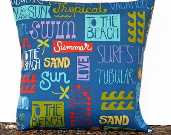 Beach Words Pillow Cover Cushion Outdoor Tropical Surf Sun Royal Blue Turquoise Lime Green Purple Decorative 18x18