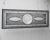 Stained Glass Panel, recycled Antique Sandwich Glass, Stained Glass Window Transom / Valance, Depression Glass Plate, OOAK Unique Home Decor