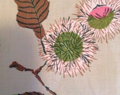 "5 Yards Modern Thistle Print Vintage Cotton Fabric Pink Green Brown Black 36x 180"" Dress Weight"
