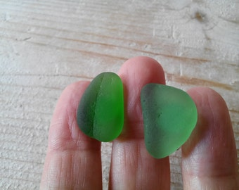 Organic bottle green Sea Glass cufflinks for him or her with Genuine Natural Amalfi Sea Glass / nr88