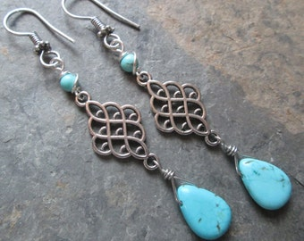 Turquoise Magnesite Drop Earrings ~ Bohemian style jewelry