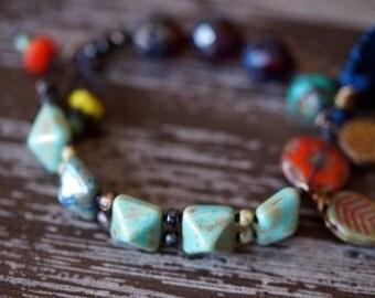 Ethnic Tassel Bracelet - Garnet and Turquoise Bracelet - Boho Bracelet - Tile Bracelet - Bead Soup Jewelry