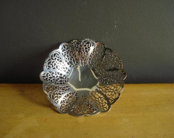 Silver Punch - Vintage Silverplate Tray with Cutouts - Ruffled Silver Tray - Lovelace 1425