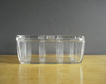 Glass Refrigerator Box - Vintage Glass Box - Clear Ridged Glass Box with Lid