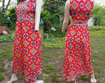 70s Maxi Dress by Yves Jennet/ Vintage Dress/ 70s Dress/ 70s Costume/ Summer Dress/ Colorful Dress Size 10