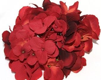 Large Hydrangea Bunch in Rich Red Orange- Full Head - PRE-ORDER
