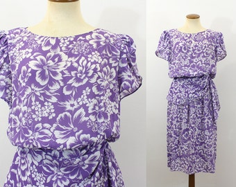 Dress Boho Floral Semi Sheer Garden Party Dress Sash Flutter Sleeve Lavender High Waist Gathered Shoulders Vintage 80s Slinky Summer Medium