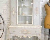 Painted Cottage Chic Shabby White Romantic French China Cabinet CC686