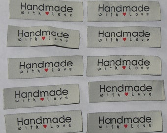 10 Handmade with love woven label tag clothes fabric crafts craft scrapbooking scrapbook papercrafts sew on heart labels card making