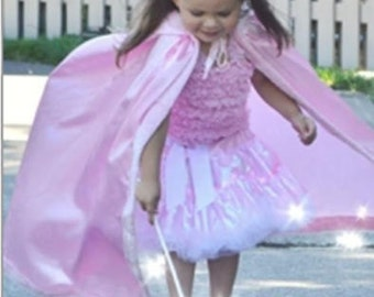 SHIPS TODAY New hooded princess  Inspired Birthday pretend play Costume  cape girl toddler 3-6 years pink faux fur satin
