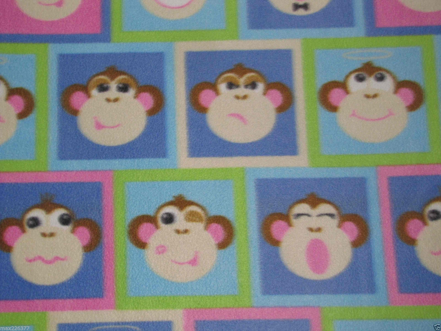 Polar fleece monkey print fabric by the yard baby toddler for Nursery monkey fabric