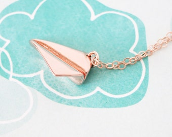 SALES - Gold Paper Airplane necklace - simple gold necklace with paper airplane, Childhood, Best friends, sister, cousin