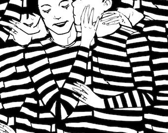 minimalist ink print: Mimes