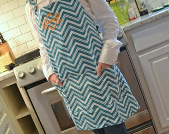 Monogrammed Apron - Turquoise, Tangerine or Lime Chevron
