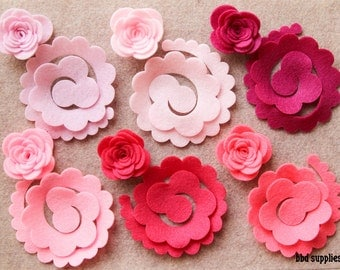 Perfectly Pink - Large 3D Rolled Roses - 12 Die Cut Felt Flowers - Unassembled Rosettes