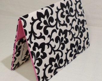 Fabric Passport Cover Case Holder - Black Scrolls Pink Passport Cover