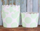Mint Green Baking Cups, Mint Green Cupcake Cups, Mint Green Candy Cups, Wedding Favor Cups, Pastel Baking Cups, Small Treat Cups (24)