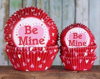Valentine's Day Cupcake Liners Set, Heart Cupcake Liners, Be Mine Cupcake Liners, Red Baking Cups, Cupcake Cases (Mini & Standard Size) SALE