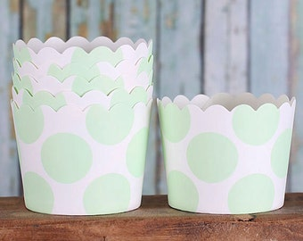 Mint Baking Cups, Mint Polka Dot Cupcake Cups, Mint Julep Candy Cups, Wedding Favor Cups, Pastel Baking Cups, Small Treat Cups (24)
