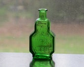 Vintage The Kings Patent Bitters Miniature Emerald Green Bottle / Olive Green Glass, Tiny Cork Top Flask Apothecary Curio Display Wheaton NJ