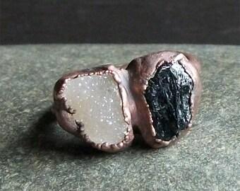 Raw Crystal Ring Rough Stone Jewelry Druzy Tourmaline Dual Stone Ring Gemstone Raw Copper Size 7  Artisan Handmade