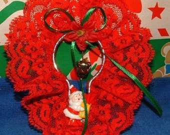1970's Vintage Santa Claus on a RED Lace Shower Hook with Lace and Ribbon Christmas Ornament Decoration - Bell and Ponsettia