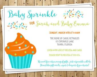 Baby Sprinkle Invitations, Boys, Blue, Orange, Cherry, Set of 10 Printed Cards with Envelopes, FREE Ship, CUPBY, Cupcake Sprinkle Boy