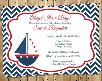 Nautical, Baby Shower Invitations, Boys, Sailboat, Navy, Red, Blue, Anchor, Chevron, Stripes, 10 Printed Cards, FREE Shipping, Ahoy, NCSBY