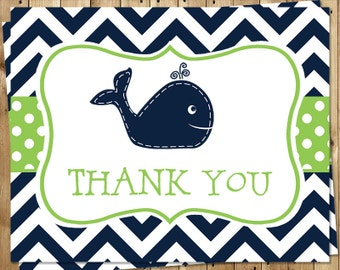 Whale, Thank You Cards, Nautical Baby Shower, Birthday, Green, Navy, Chevron, Stripes, Little Squirt, 24 Folding Notes, FREE Shipping, WHLAG