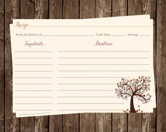 Recipe Cards, Bridal Shower, Autumn, Tree, Leaves, Orange, Chocolate, Wedding, Set of 24 Printed Cards, FREE Shipping, FALIL, Fall in Love