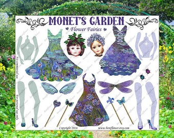 Handmade Digital Art Paper Doll Monets Garden Flower Fairy Fairies Collage Sheet JPEG  Printable Altered Art Journal Scrapbooking Cards