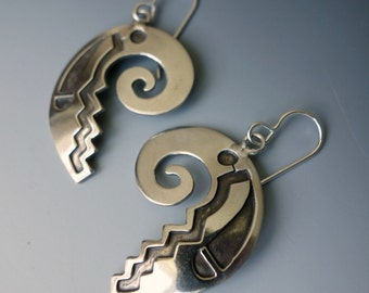 Vintage Hopi Overlay Sterling Earrings