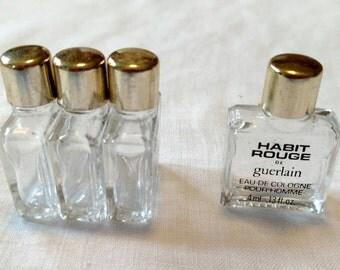 Lot of 4 Vintage Miniature Perfume Bottles Habit Rouge De Guerlain